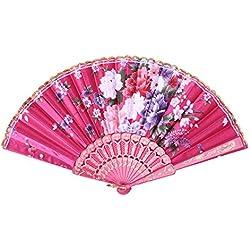 Bokze Women Handheld Folding Fan Flower Pattern with Gilding Fan Bone,Craft Gift for Wedding,Party (Magenta)