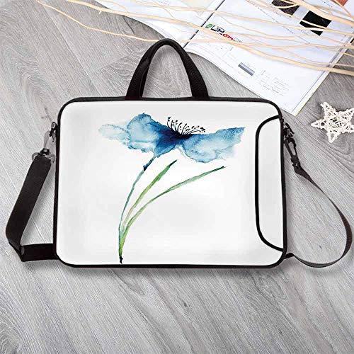 "Watercolor Flower Portable Neoprene Laptop Bag,Petite Tall Cornflower Summer Botanic Floral Blooming Plants Artsy Print Laptop Bag for Travel Office School,14.6""L x 10.6""W x ()"