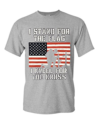 I Stand for The Flag I Kneel for The Cross T-Shirt Patriotic Military Sport Gray XL (Star Flag Shirt)