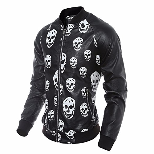 Tomatoa Men Biker Zipper Skull Leather Motorcycle Tops Coat Black Men's Autumn Warm Outwear amp;Winter Jacket rqw1rE4