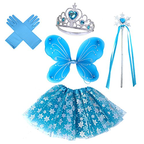 4 PC Girls Frozen Inspried Princess Costume Set with Wings, Tutu, Wand & Halo (Blue Snowflake) -