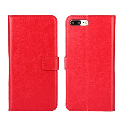 iPhone 7 Plus (5.5 inches) funda,COOLKE Retro PU Cuero con Ranuras Leather de Wallet Carcasa Piel With Card Pouch Stand de protección Funda Tapa Case Cover para Apple iPhone 7 Plus (5.5 inches) - Azul Rojo