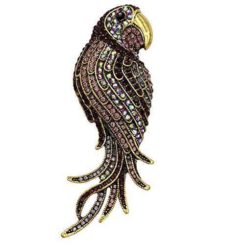 (SELOVO Animal Big Parrot Bird Colorful Multicolor Large Brooch Pin Crystal Gold Tone)