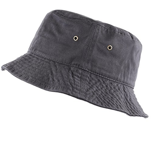 The Hat Depot 300N Unisex 100% Cotton Packable Summer Travel Bucket Hat (L/XL, Charcoal)