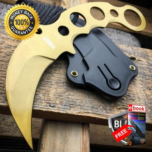 TACTICAL GOLD COMBAT KARAMBIT NECK KNIFE Survival Hunting BOWIE Fixed Blade For Hunting Tactical Camping Cosplay + eBOOK by MOON KNIVES]()