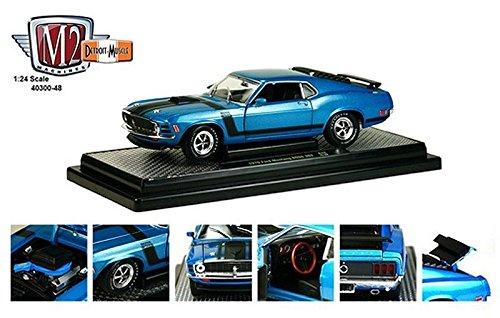 1970 Ford Mustang Boss 302 Dark Aqua Metallic With Black Stripes 1/24 by M2 Machines ()