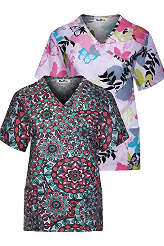 Minty Mint Women's Short Sleeve Tie Back Mock Wrap Printed Medical Scrub Top in Assorted Two Piece Assorted Pack ASTD:Green,Pink XS