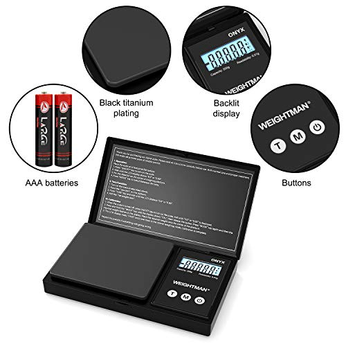 WEIGHTMAN Gram Scale,Scales Digital Weight Grams 200g x 0.01g Black Titanium Plating, Small Pocket Jewelry Reloading Scale with Tare Function, Battery Included
