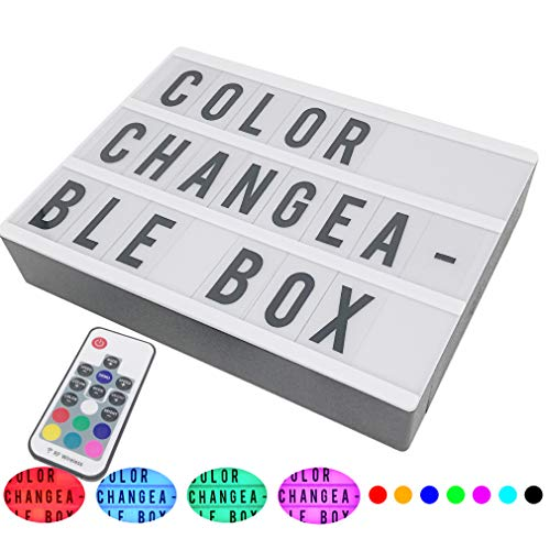 Sanyan Color Change&Flash LED Cinematic Light Box with 189 Letters&Emojis with Remote Control, A4 Size(11.8