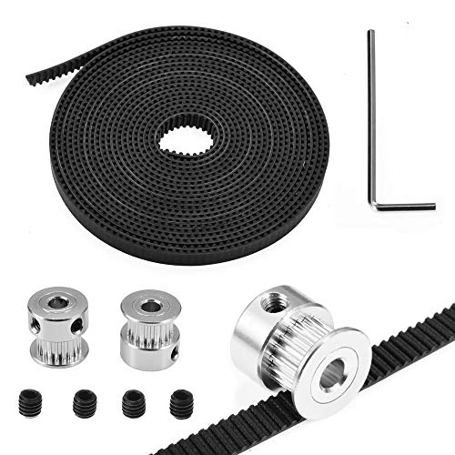 David Franklin - 2pcs 20Teeth GT2 Timing Pulleys Bore 5mm +3M GT2 Timing Belt 6mm Width+L Wrench/Screws Kits For 3D Printer Parts RepRap Prusa