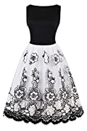 Women's Vintage Retro Floral Organza Sleeveless Cocktail Vintage Swing Dresses