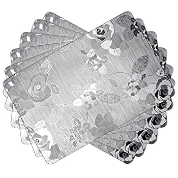 SiCoHome Plastic Placemats,Non-slip Placemats for table,Waterproof,Sliver,Set of 6