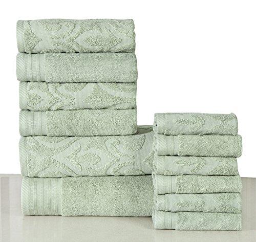 600 GSM Cotton 12 Piece Towel Set (Sage Green): 1 Jacquard & 1 Solid Bath Towel, 2 Jacquard & 2 Solid Hand Towels, 3 Jacquard & 3 Solid Washcloths, Long-staple Cotton, Absorbent, Machine Washable
