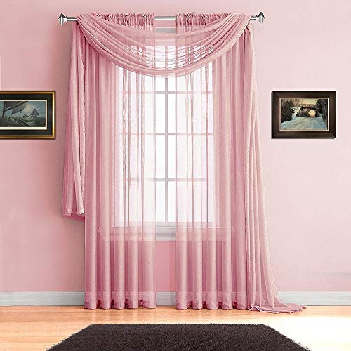 (Avanti Home Elegance Solid Colors 1 PC Scarf Valance Soft Sheer Voile Window Topper Swag Panel Curtain 37
