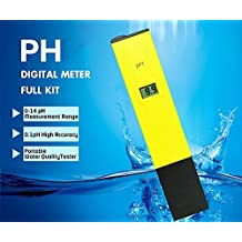 Digital PH Meter Full Kit, [0-14 pH Measurement Range] [0.1pH High Accuracy] Portable Handheld Water Quality, Swimming Pool,Aquarium Tester PH Test Pen+[2 PH Buffer Powder]+[Adjust Pen]