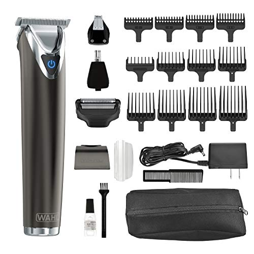 Wahl Clipper Slate Stainless Steel Lithium Ion Plus Beard Trimmers for Men, Electric Shavers, Nose Ear Trimmers, Rechargeable All in One Men's Grooming Kit, by the Brand used by Professionals, 9864 by Wahl