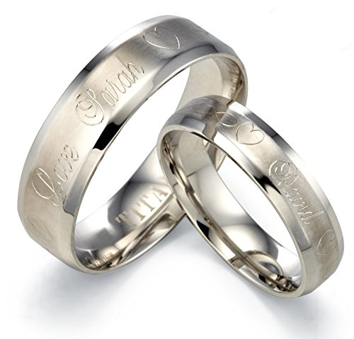 Gemini Personalize Engrave Groom & Bride Matt Beveled Edge Plain Wedding Band Ttianium Rings Set, Comfort-Fit, Valentine's Day Gift US size 4-16 (half sizes available)