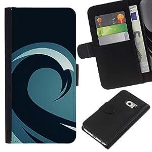 A-type (Patrón minimalista Ola) Colorida Impresión Funda Cuero Monedero Caja Bolsa Cubierta Caja Piel Card Slots Para Samsung Galaxy S6 EDGE (NOT S6)