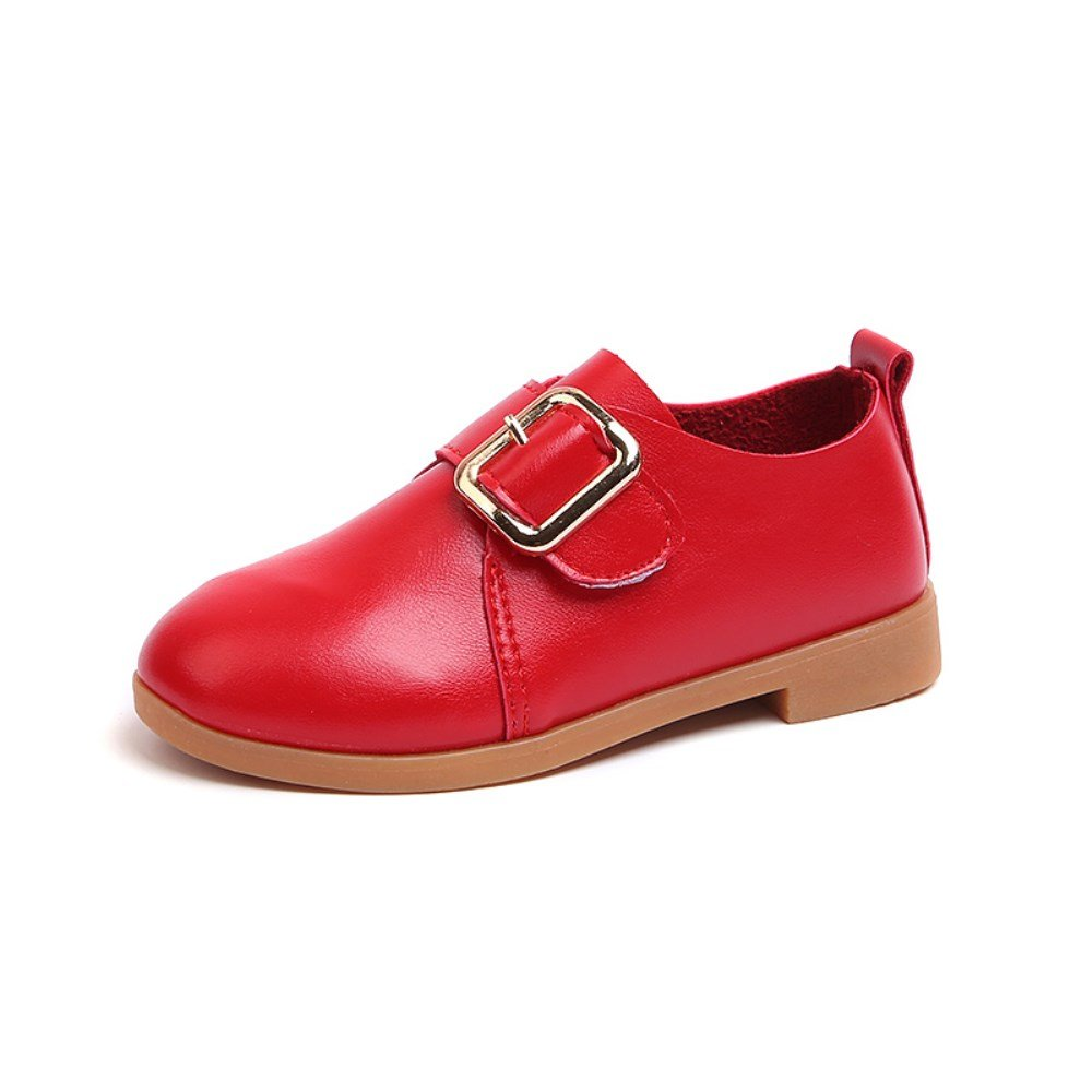 Little Baby Kids Girls Princess Leather Dress Shoes Spring Autumn Casual Velcro Mary Jane School Shoes(11 M US Little Kid, Red)