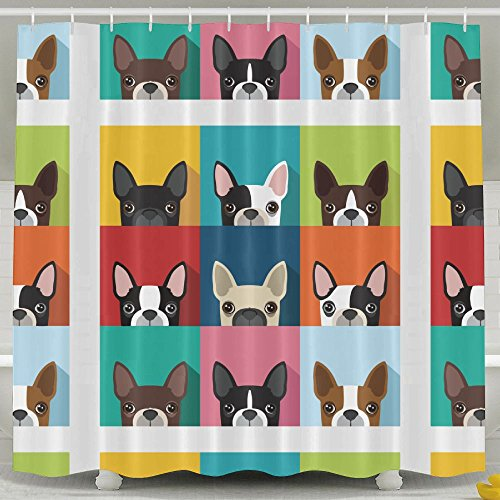 Boston Terrier Bulldog Fashion Shower Curtain Deluxe Waterproof Bath Curtain