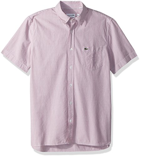 Lacoste Men's Short Sleeve Seersucker Button Down Collar Reg Fit Woven Shirt, CH5007, Toreador, Small