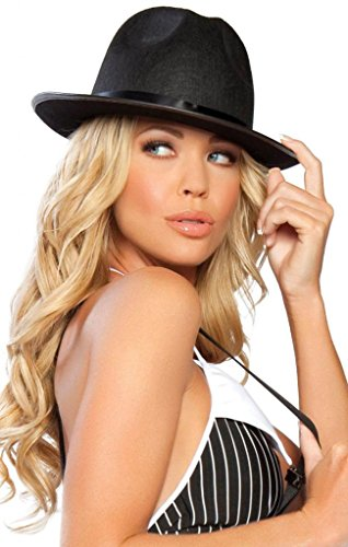 Sexy All Black Gangster Girl Fedora Halloween Accessory