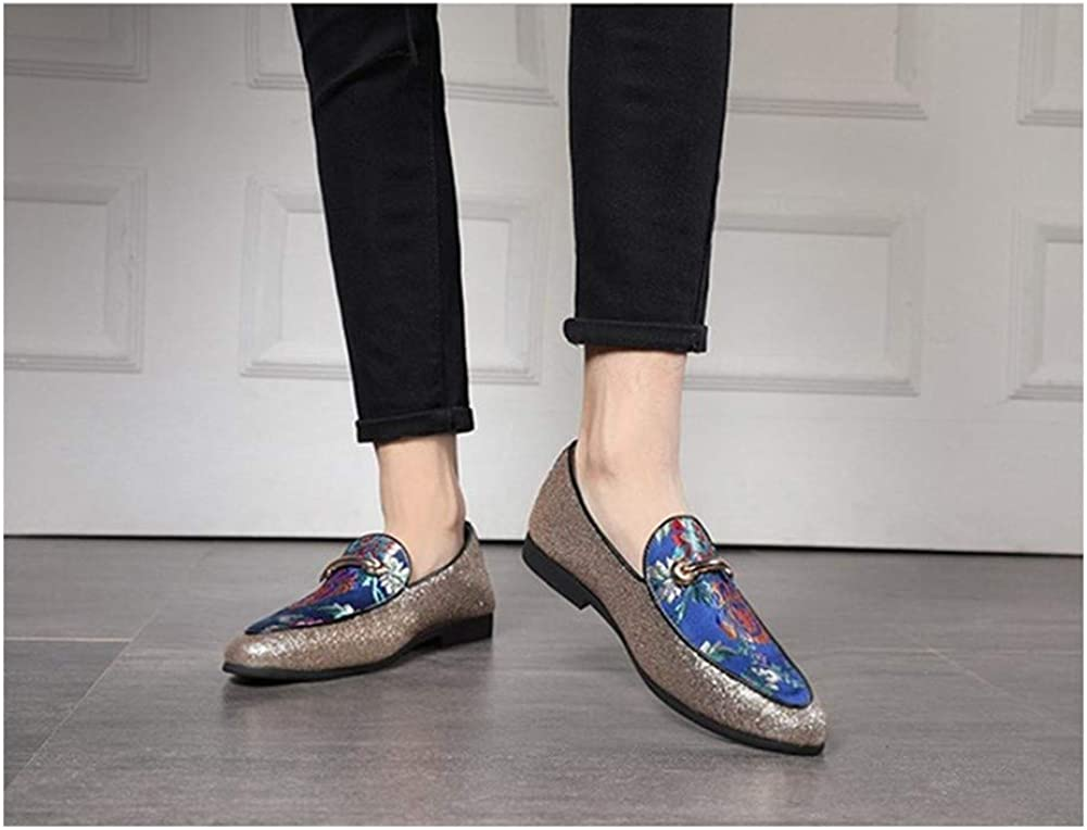 JUFENGYAO Shoes, Retro Oxford for Men Embroidery Loafers Shoes with Alloy Buckle Decor Slip on Microfiber Leather Stitch Glinting Sequins Blue