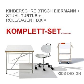 Komplett Set Kinderschreibtisch Eiermann 150x75 Cm Weiß Stuhl
