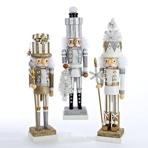 18'' Holly Wood White Tree, Silver Package & Gold Package Hat Nutcrackers 3/asstd.