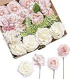 Ling's moment Artificial Flowers Blush Ivory Foam Roses Silk Flowers Combo for Wedding Bouquets Centerpieces Flower Arrangements Decorations (Elegant Blush)
