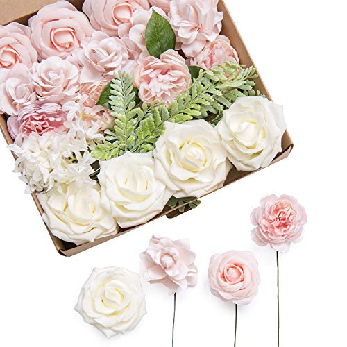 Ling's moment Artificial Flowers Combo Realistic Fake Roses with Stem for DIY Wedding Bouquets Centerpieces Floral Arrangements Decorations (Elegant Blush)