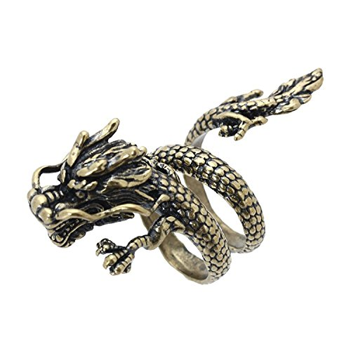 Ring - TOOGOO(R)Open ring spiral alloy Bronze jewelry Chinese Dragon for (Chinese Mens Dragon)