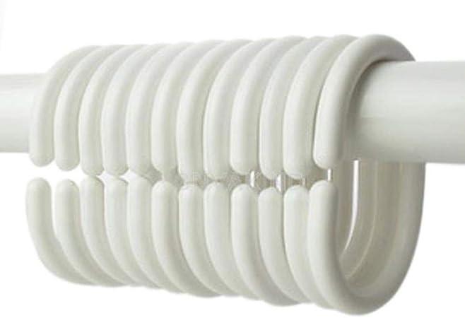 LLAAIT 12 Unids/Pack Nuevo Plástico Cortina de Ducha Gancho Gancho ...