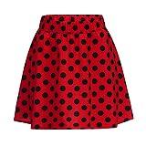 Polka Dot Print Skirt Skater Skirt for Women, Elastic High Waist a-Line Swing Mini Skirt Summer Casual Flare Skirt(Red, S)