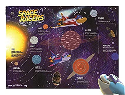 Space Racers Solar System Activity Poster With Sticker Set 18 X 24 Planet Stickers Learn The Solar System Stem For Preschoolers Great For