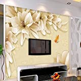 Mznm Custom Large Frescoes Yellow Dream Flowers Lily Tv Backdrop Non-Wovens Wallpaer Mural 3D for Room-150X120Cm