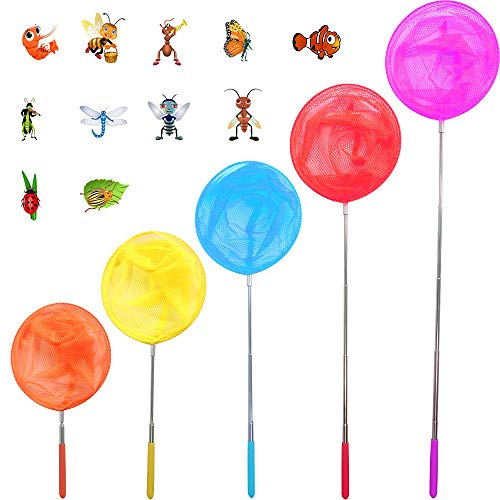 Yolafe Insect Nets, Telescopic Bug Nets for Kids to Catch Butterfly, Fish, Bumblebee, Beetle, Ladybird, Caterpillar (5 Pieces, 5 Colors)