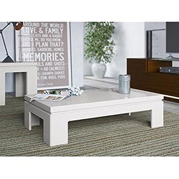 Manhattan Comfort Bridge 2.0 Series Coffee Table In Off White