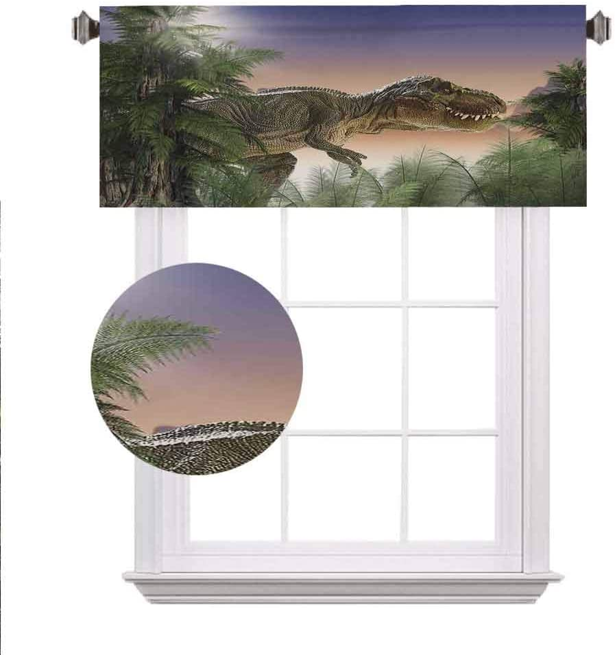 "SoSung Jurassic Decor Window Valance,Dinosaur in The Jungle Trees Forest Nature Woods Scary Predator Violence Curtain Valance for Kitchen Bedroom Decor with Rod Pocket,42""x18"","