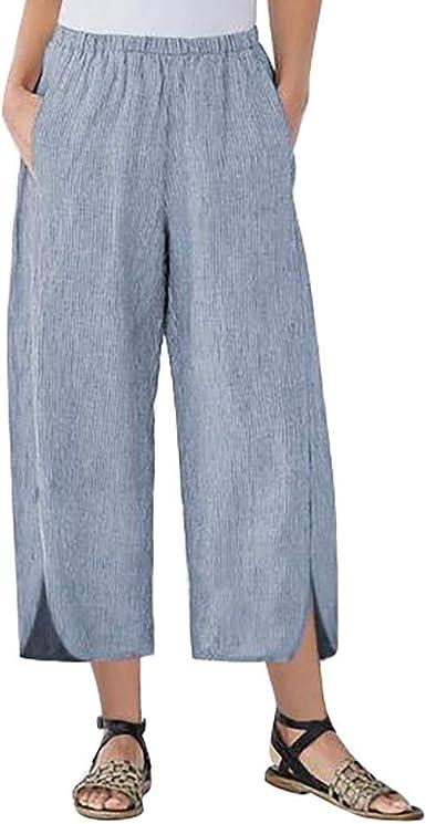 Pantalones Mujer Verano Pantalones Casuales De Bolsillo De Color Solido Para Mujer Pantalones Anchos Mujer Suelto Y Transpirable Pantalones Casual Para Mujer Pantalones De Verano Mujer Amazon Es Ropa Y Accesorios