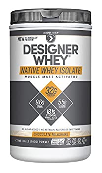 Designer Protein 100% Native Whey Isolate, Chocolate Milkshake, 1.85 Pound