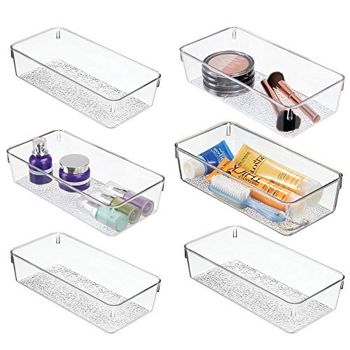 mDesign Plastic Drawer Organizer Storage Tray for Bathroom Vanity, Countertop, Cabinet - Holds Makeup Brushes, Eyeliner, Lip Pencils, Hair Accessories - Textured Base, 6