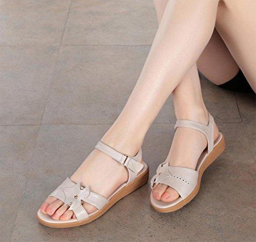 Sandalias Planos Verano Beige Planas Zapatos Del De Mujeres Zapatillas Suaves Inferiores Talón Las Y zcZvdvq4w