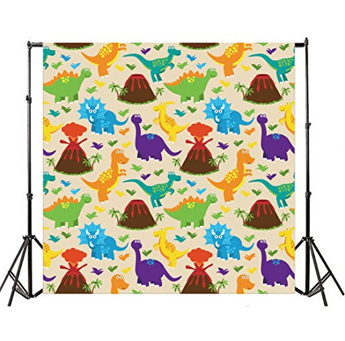 Yeele Cartoon Dinosaur 4x4ft Backdrops Dino Tyrannosaurus Photography Background Vinyl Triceratops Brontosaurus Boys Baby Birthday Party Photo Picture Shoot Studio Props
