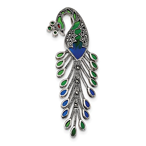 (925 Sterling Silver Green/red/blue Epoxy Marcasite Peacock Slide Necklace Pendant Charm Omega Bird Fine Jewelry Gifts For Women For)