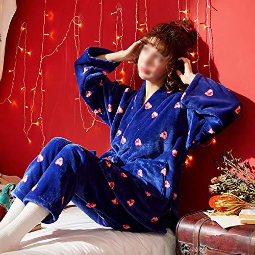 A Addensare Flanella Accappatoi Camicia Caldo Indumenti Confortevole Inverno Autunno Pigiama Da Notte Blue Stampa Due Da Da PJ Dolce Notte Pezzi Donna Morbido Set YxnqYf0O