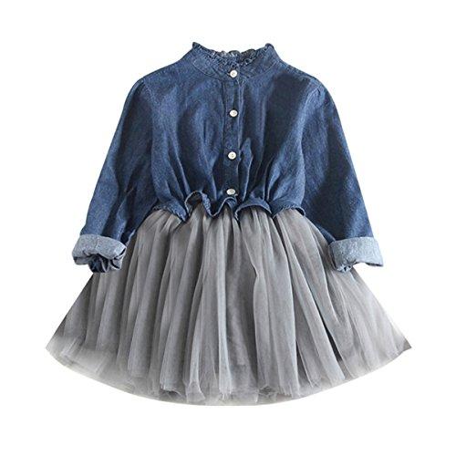6e45f28235468 Aliciga デニム シャツ 女の子 長袖 袖なし ワンピース 無地 メッシュ チュールスカート ドレス 膝上丈