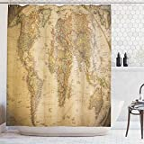 Art Deco Shower Curtain Ambesonne Wanderlust Decor Collection, Anthique Old World Map in Retro Color with Vintage Nostalgic Design Art Print Deco, Polyester Fabric Bathroom Shower Curtain, 75 Inches Long, Cream