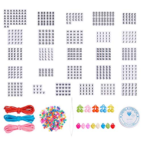 SUNNYCLUE 840pcs White Acrylic Alphabet Letter Beads A-Z Cube Loose Beads with 1 Roll Elastic Cord, 180pcs AB Colorful Beads, 15pcs Cherry Heart Charm Pendant for DIY Jewelry -