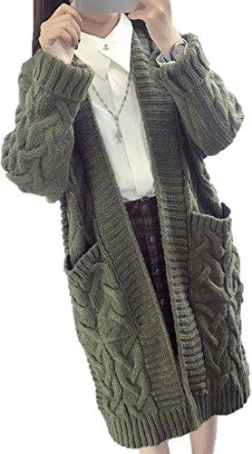 【SEBLES】レディース ロング カーディガン 厚手 ケーブルニット ポケット付き ツイスト編み